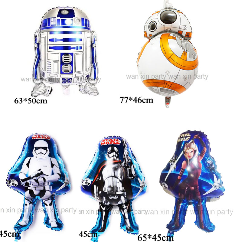 wholesale (50pcs/lot) Star Wars balloon children <font><b>toys</b></font> <font><b>Robot</b></font> <font><b>BB8</b></font> foil balloon and R2D2 helium balloon for party supply image