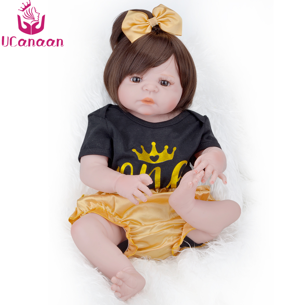 UCanaan Realistic Reborn Baby Dolls Brown Eyes Soft Silicone Lifelike Newborn Doll Toys for Kids Gift ucanaan 20 50cm reborn doll hair rooted realistic baby born dolls soft silicone lifelike newborn toys for girls xmas kids gift