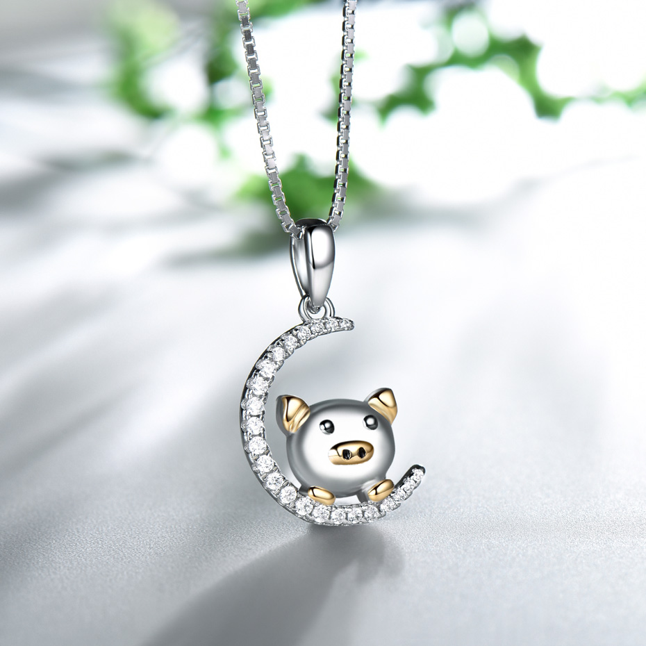 silver chinese new year gift pig pendant for women  (5)