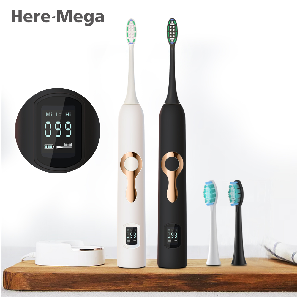 Here Mega Sonic Electric Toothbrush Ultrasonic Whitening Teeth Vibrator Tooth Brush Dental Care Oral Hygiene Washable LCD Screen 1 kit dental orthodontic oral care interdental brush toothpick between teeth brush 3pcs kit570041
