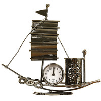 Creative Home Decoration Electronic Clock Creative Sailboat Model Living Room Desktop Digital Table Clock With Pen