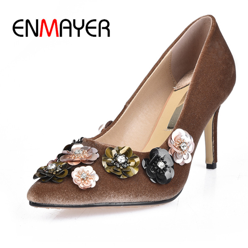 ENMAYER Flock Slip-on Shallow Pumps Appliques Shoes Woman High Heels Pointed Toe Spring&Antumn Plus Size 34-42 Party Dress Shoes new 2017 spring summer women shoes pointed toe high quality brand fashion womens flats ladies plus size 41 sweet flock t179