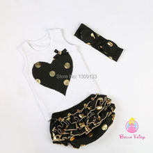 Gold Polka Dot Birthday Party  Outfit For Kids
