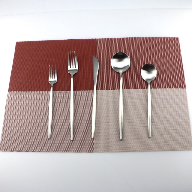 5Pcs/Lot Silve Cutlery Set 18/10 Stainless Steel Dinnerware Set Fork Knife TeaSpoon Silverware Home Tableware Set Dessert Fork