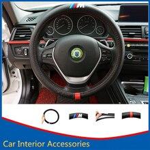 Coche Que Labra La Cubierta del Volante Decoración de Fibra de Carbono de Cuero de LA PU cubierta Para BMW E39 E46 E30 E60 E90 F10 F25 F26 F30