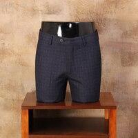 2017 Mężczyzna Nowa Moda Lato slim fit Men Casual Spodnie Proste sukienka Mężczyzn Garnitur Spodnie skinny Plaid Niebieski Dla Człowieka CBKZ021