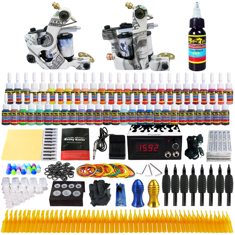 Solong Tattoo Top Selling Complete Tattoo Kit 2 Pro Machine Guns 54 Inks Power Supply Needle Grips TK252US professional tattoo kit 5 guns complete machine equipment sets teaching cd ink for beginners body art beauty tools tk 2509 m