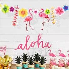 3 м тропический Фламинго листья баннер цветок Гирлянда бумага флаг день рождения ребенка душ Гавайская Летняя Вечеринка украшения