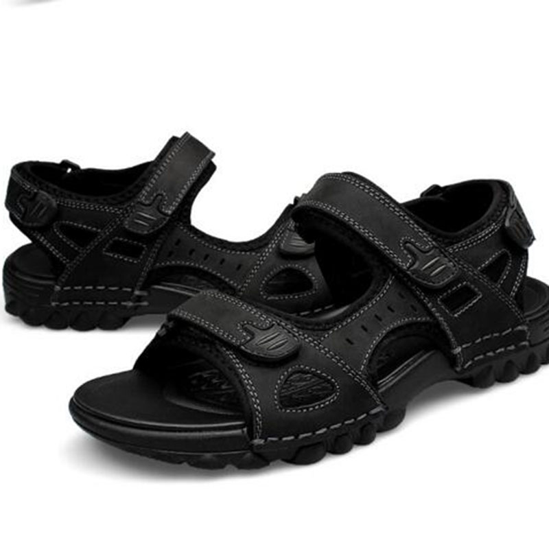 Summer Beach Hot Sale Men Casual Hook&Loop Casual Sandals,Non-slip Breathable Massage Genuine Leather Sandals Size 38-47
