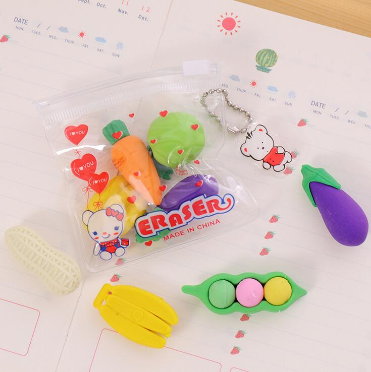 4 Pcs/pack Creative Vegetable Fruit Drawing Eraser Primary Student Prizes Promotional Gift Stationery