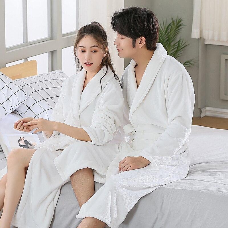 Winter Robes For Women Bathrobe Couple Thick Warm Towel Flannel Cashmere Men Sleepwear Long Soft Robe Nightgown Kimono Robes