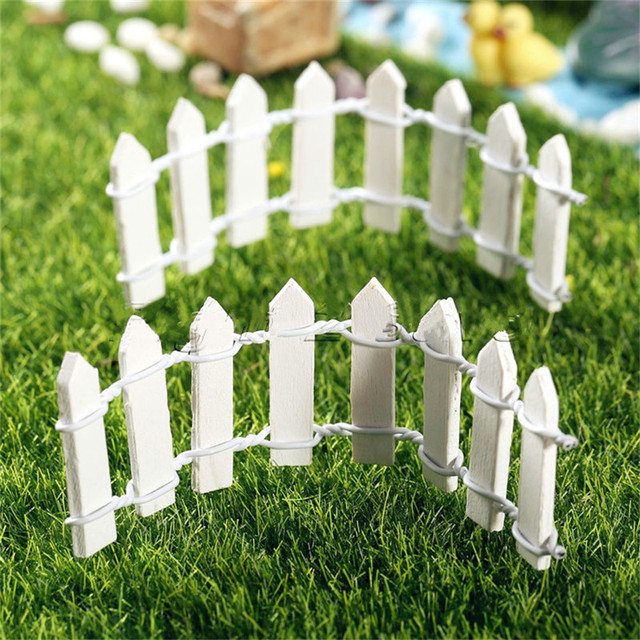 10Pcs Wooden Mini Small Fence Fairy Garden Miniature Landscape Mini Fine  Decor Craft DIY Accessories Home