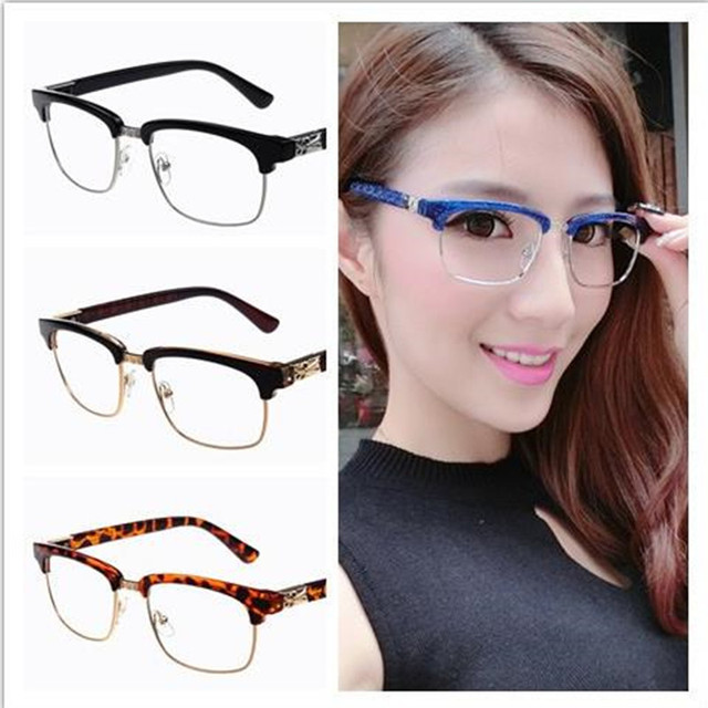 8686a170f Semi-rimless Glasses Frames Classic Popular Resin Men Women Ladies  Decorative Reading Glasses Frames No Degree