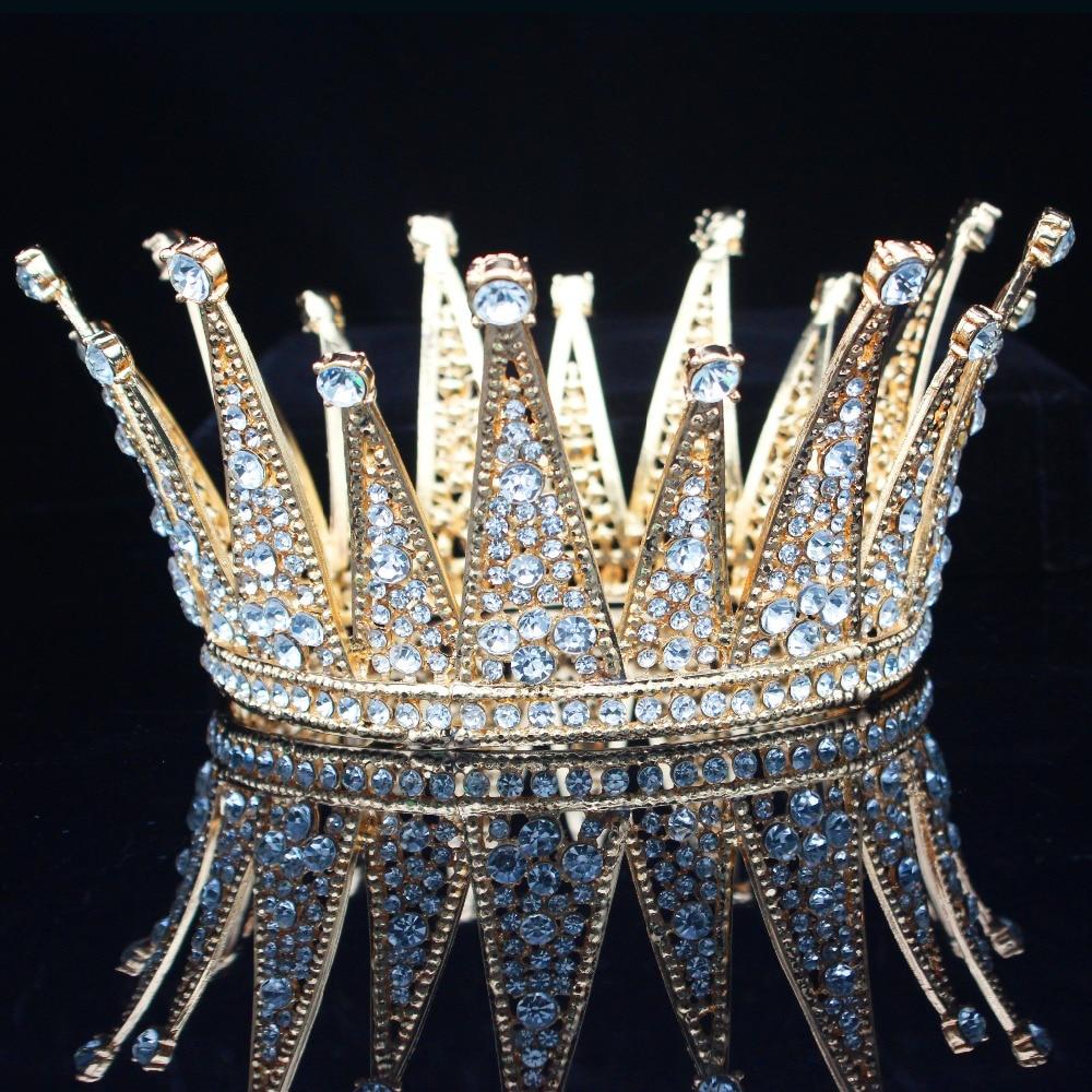 Image 4 - Vintage Crystal Queen King Bridal Tiara Crown Bride Headpiece Wedding Hair Jewelry Accessories Women Pageant Prom Hair Ornaments-in Hair Jewelry from Jewelry & Accessories