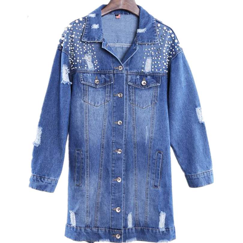 New Bead Denim Jackets Women Hole Long Sleeve Vintage Jean Jacket Loose Denim Coat
