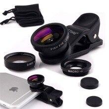 Универсальный Рыбий глаз 3in1 + клип «рыбий глаз» смартфон Камера широкоугольный объектив макро мобильного телефона Ленц для iPhone 7 6 5 4 Смартфон