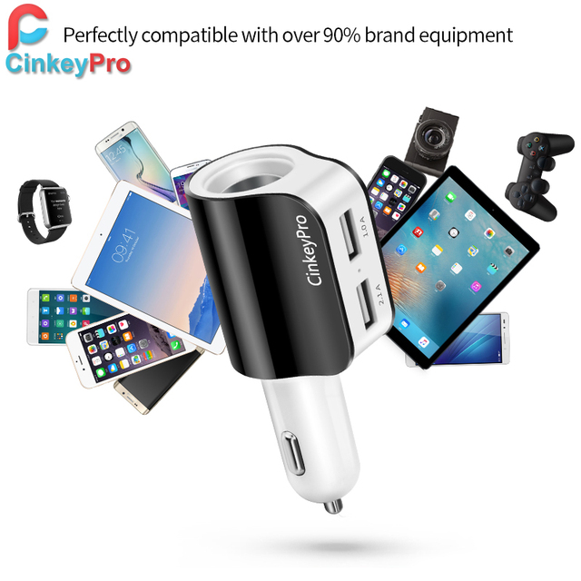 Car Charger Cigarette Lighter Adapter 2.1A 2 Port USB Car-Charger Mobile Phone Adapter Charging Type C for iPhone iPad CinkeyPro 4