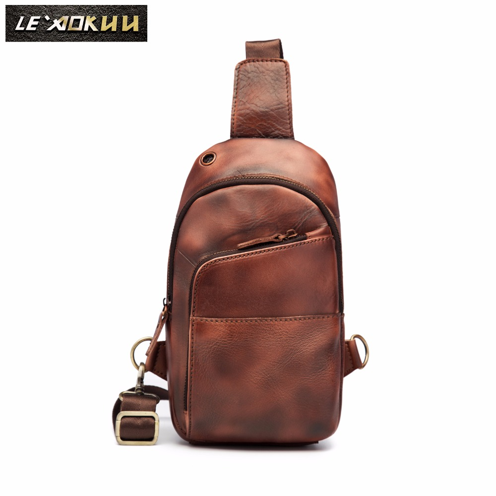 Men Quality Leather Casual Fashion Triangle Chest Bag Design Travel Sling Bag 8