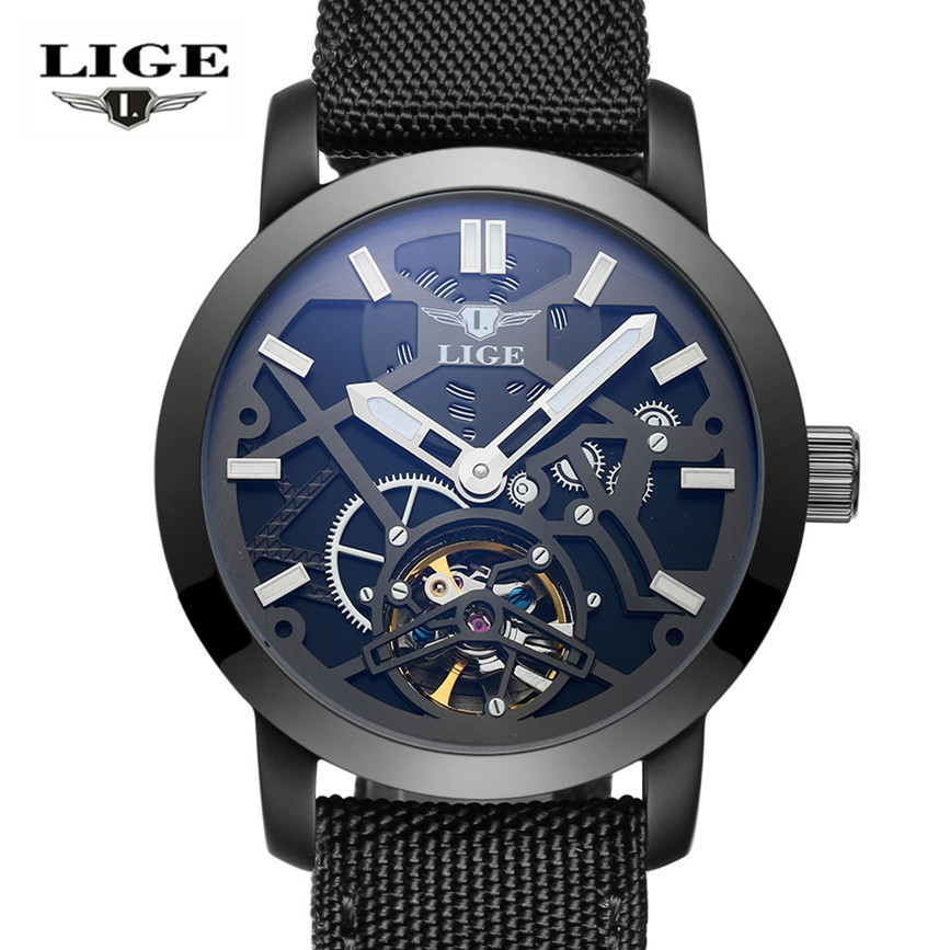 LIGE Top Luxury Brand Automatic Mechanical Watch Men Military Waterproof Wristwatches Canvas Skeleton Watch Relojes Hombre Clock 2016 wilon fashion brand top quality luxury automatic watch male skeleton mechanical watch relojes hombre marca famosa