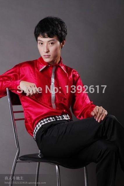 Envío gratis para hombre negro / rojo / blanco / lentejuelas decoración esmoquin camisa de manga larga