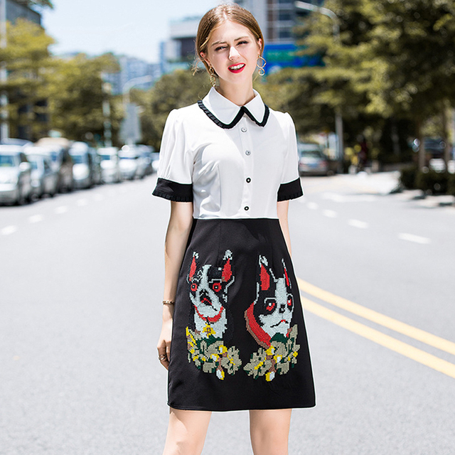 ddb3534f07e Street Fashion Summer Dress New Women s Runway Dress Elegant Peter Pan  Collar Embroidery White Black Dress