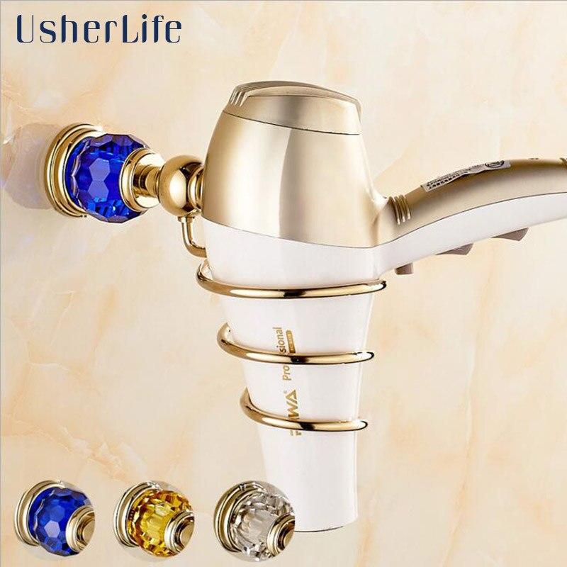 Bathroom Hair Dryer Holder Gold Wall Mounted Rack Crystal Organizer Usherlife Stand Shelf gold finish brass bathroom hair dryer holder wall mounted