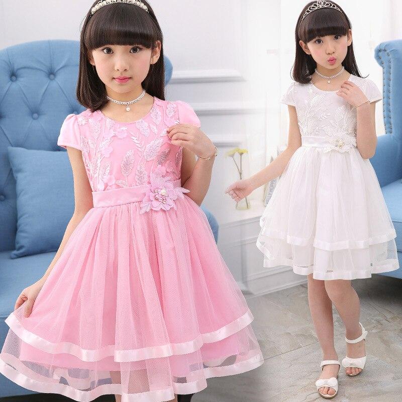 Fashion Teenage Girls Lace Dresses Summer Kids Dresses For Girls Clothes Fashion Girl Embroidery Princess Birthday Party Dress 5