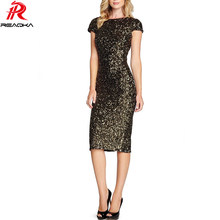 Sexy Elegant Women Black Gold Sequins Dress 2018 New Bodycon Vestidos Night  Club Sundress Lady Slim Evening Party Split Dresse 3926afc49586