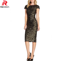 Sexy Elegant Women Black Gold Sequins Dress 2018 New Bodycon Vestidos Night Club Sundress Lady Slim Evening Party Split Dresse