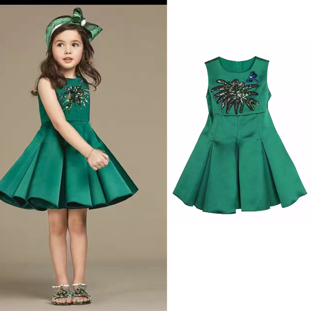c6ac991a262 Kimocat Girls Dresses Clothes Costumes Princess Party Dress Children Green  Sequins Dress robe enfant