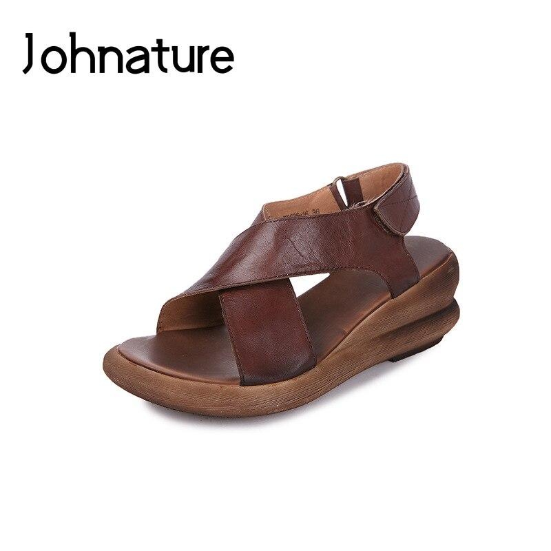 Johnature 2019 New Summer Genuine Leather Retro Women Shoes Casual Hook Loop Platform Sandals