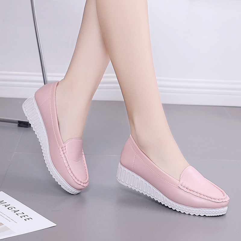 Lucyever Women Ballet Flats Shoes 2018 New Soft Leather Slip on Ladies Shallow Moccasins Casual Shoes Ladies Summer Shoes Woman women ballerina flats shallow slip on ballet shoes pointed toe flats woman metal heart shape rubber leather black ladies shoes