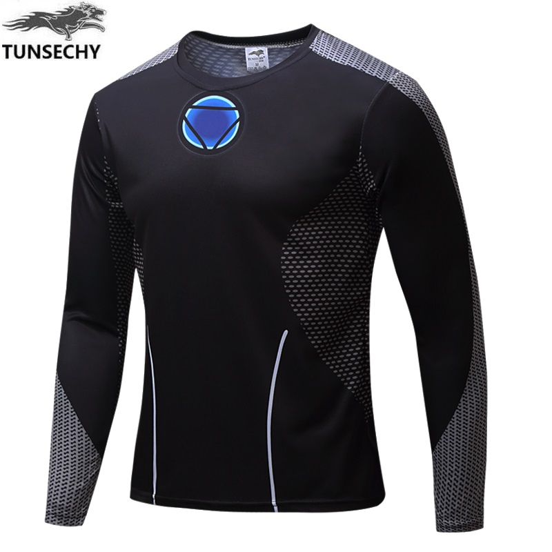 2017 TUNSECHY captain America fashion brand of round neck long sleeve T-shirt digital printing T-shirt wholesale and retail