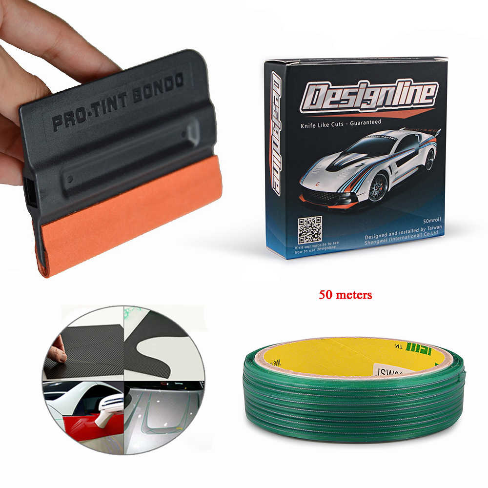 Ehdis 5/50M Auto Stickers Knifeless Tape Ontwerp Lijn Met Tint Squeegee Vinyl Auto Wrap Film Snijden Tape auto Styling Accessoires