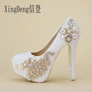9702205a5c38ca XingDeng Women Wedding High Heels Pumps Ladies Bridal Shoes