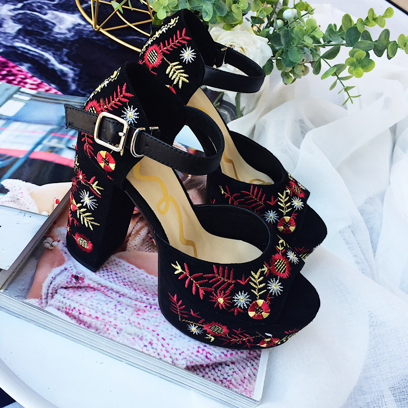 Peep Toe Woman Sandals High Heel Woman Shoes Black Color Colorful Flower Embroidered Woman Shoes Platform Hot Brand Runway Shoes colorful jelly shoes for woman high square thick transparent heel buckle casual style hot sale woman sandals free shipping
