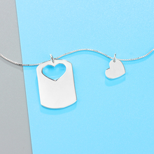 2 Pcs/Set Overlapping Heart Design Love Name Necklace