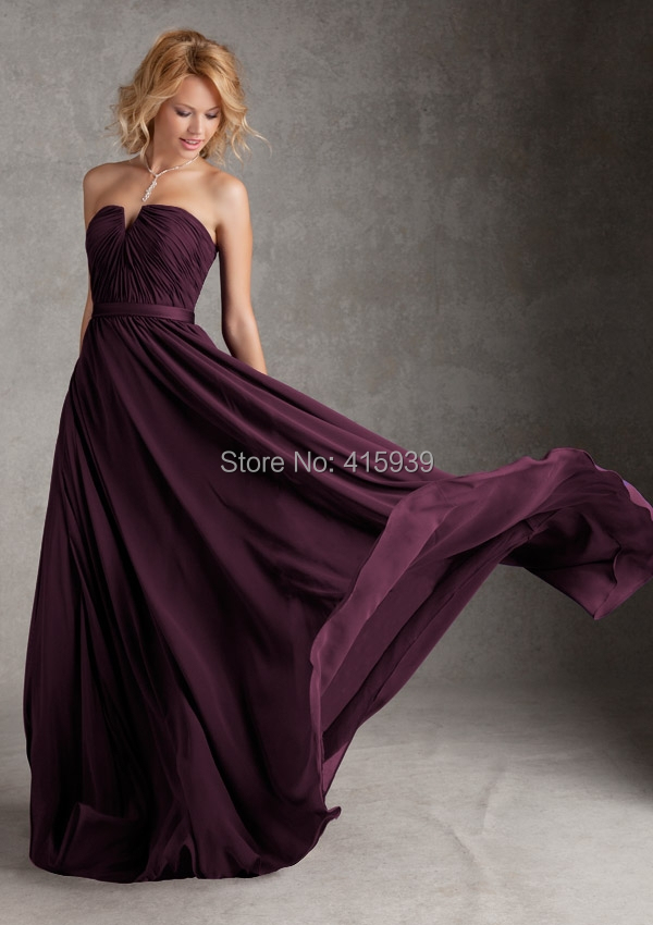 Brautjungfer kleid aubergine