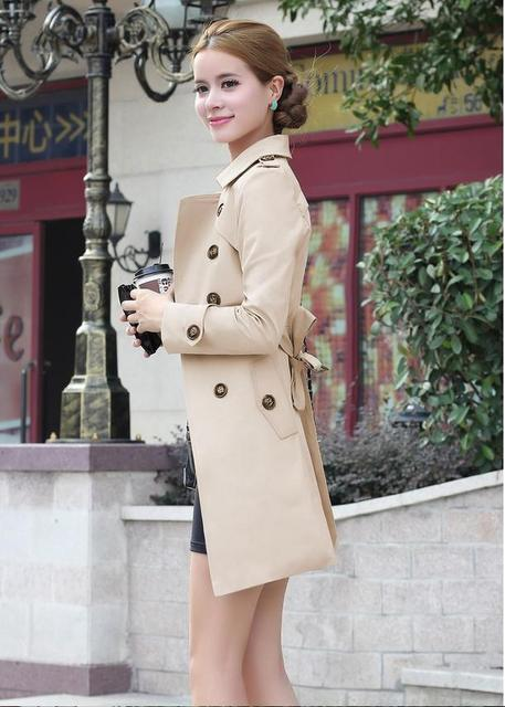 2016 spring autumn new women trench coat long section slim thin trench coat with sashes women loose casual windcoat