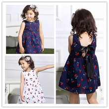 New Girls Summer Dresses Sleeveless Cute cherry Children Clothing Kids Girls Dress Denim Princess Clothes