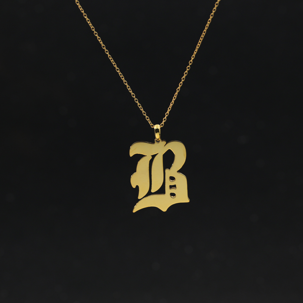 Personalized Capital Letter Pendant Choker Necklace Old English Font Inital Nameplate Necklace Golden color Customized Jewelry bk 4371 18k alloy crystal artificial fancy color diamond pendant necklace golden 45cm