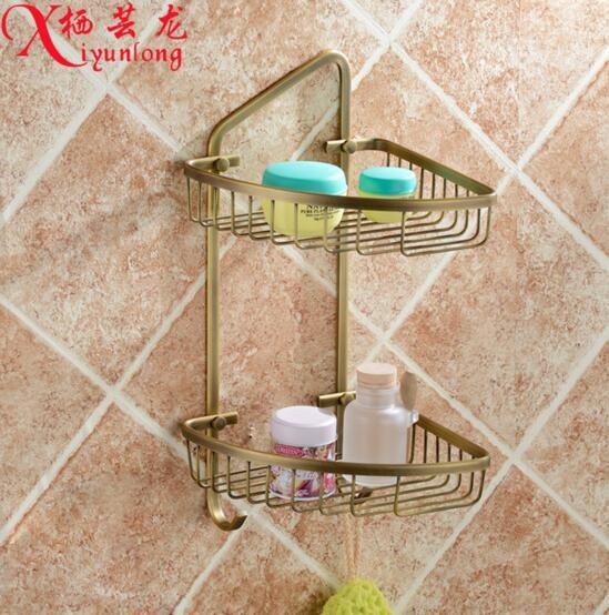 ФОТО Luxury villa European classic factory wholesale antique 100% copper tripod corner shelf bathroom toilet double basket racks