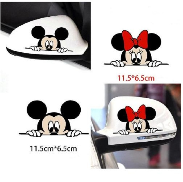 Funny Mickey Mouse Car Sticker Cut Peeping Cover cute cartoon colorful personality fashion stickers window and car tail