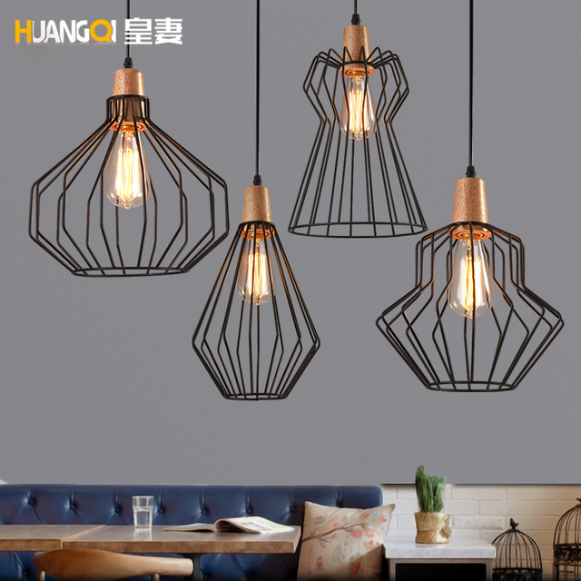 Huangu0027s Wife Loft Dining Room Chandelier Office Bar Iron Cage Nordic  Industrial Wind Bar Retro