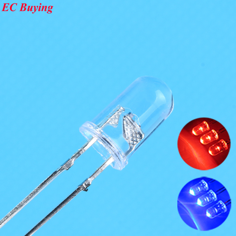 100 шт./лот, 5 мм мигание, красный/синий светодиод, 10000 мкд, 5 мм мигание, красный/синий светодиод, 5 мм, двухцветные светоизлучающие диоды