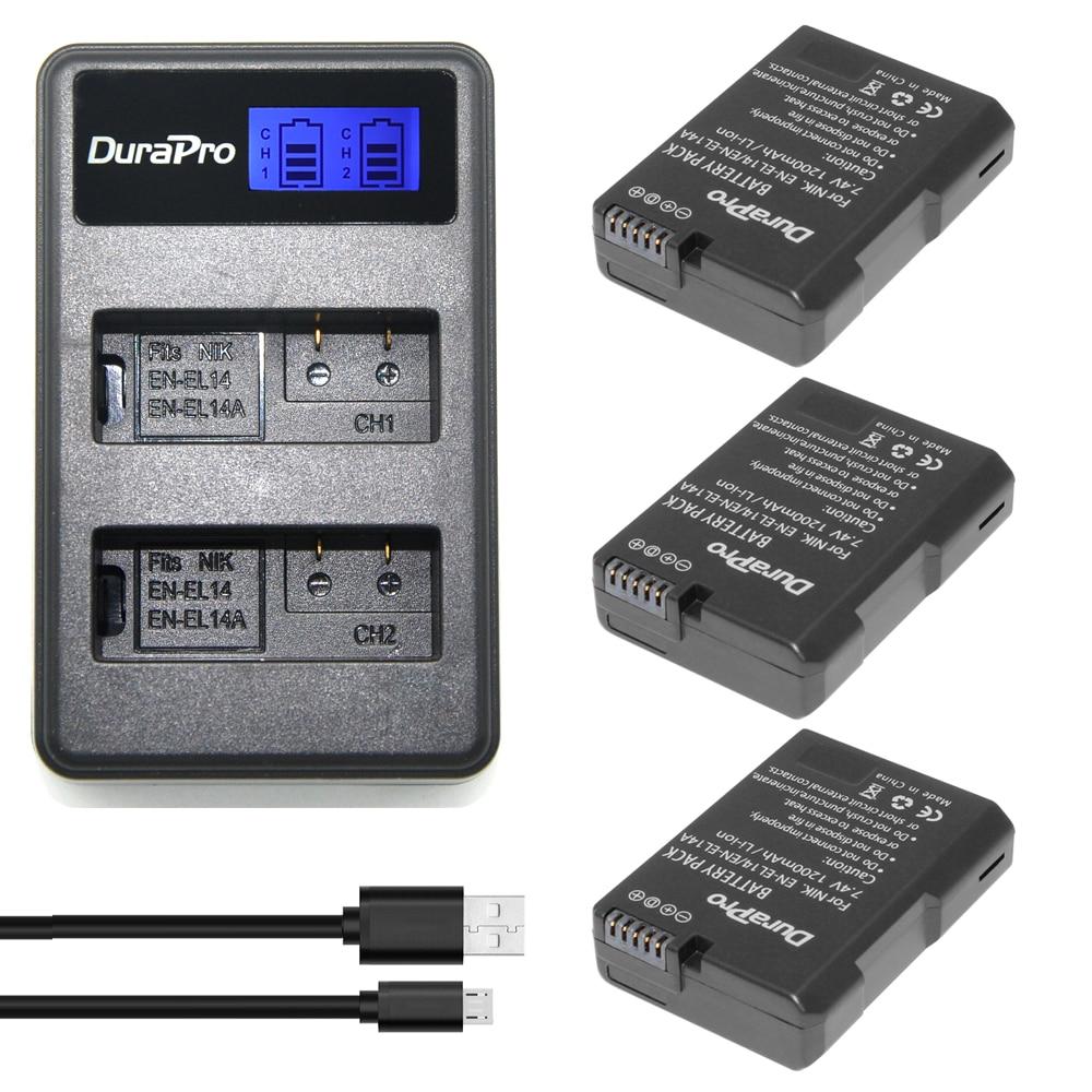 3 x DuraPro EN-EL14a EN-EL14 EL14 Battery + LCD USB Dual Charger For Nikon Df Battery D5500 D5300 D3300 D5100 D5200 D3100 D3200 original en el14a en el14a el14 rechargeable battery for nikon df d5300 d5200 d5100 d3300 d3200 d3100 p7100 p7700 p7800 p7000