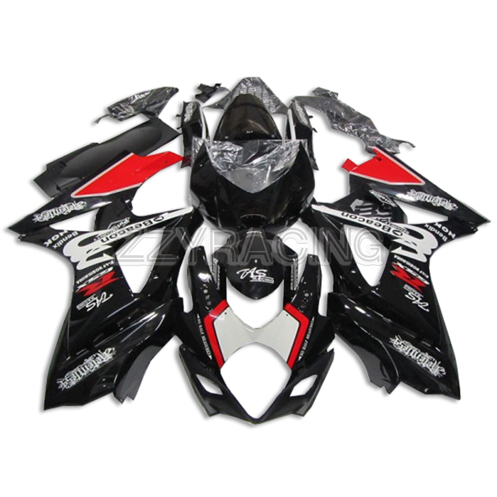 Injection Fairings Kits for <font><b>Suzuki</b></font> <font><b>GSXR1000</b></font> <font><b>K7</b></font> 2007 2008 Year Complete ABS Plastic Covers Motorcycle Panels Kits Black Red Frame image