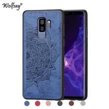 For Samsung Galaxy S9 Plus Soft TPU Cloth Texture Hard PC Phone Case Cover Fundas