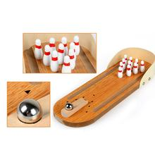 MACH Mini Desktop Bowling Game Set Wooden Bowling Alley Ten Metal Pin Ball Desk(China)