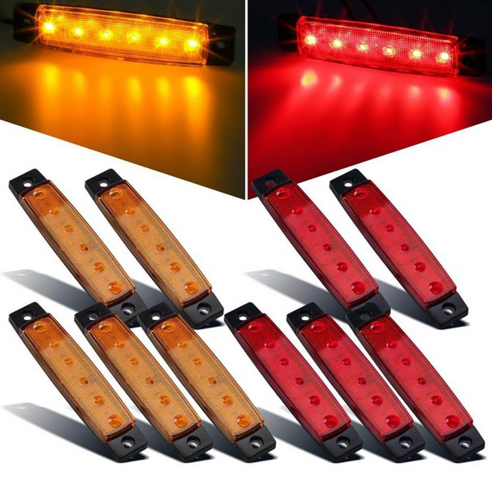 5PCS/lot 12 10x3.8 V 6 LED Side Marker Lights Indicators Truck Lamp Boat Trailer Water Proof For Car Truck Bus Blue Green Red cyan soil bay 10pcs 6led red white green blue yellow amber 6 led clearence truck bus trailer side marker indicators light lamp